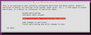 Manual partitioning disk selection